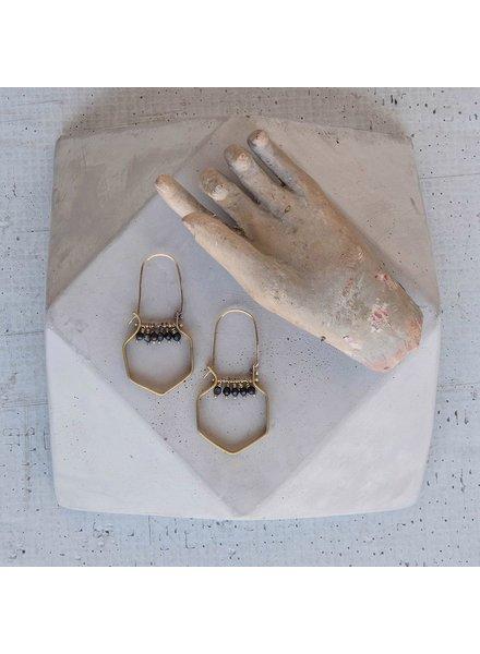 OraTen Hexagon Brass Dangling Gem Earrings - Matte Black Onyx