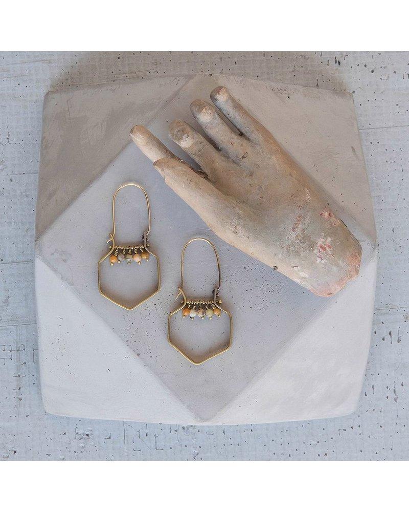 OraTen Hexagon Brass Dangling Gem Earrings - Yellow Moss Agate