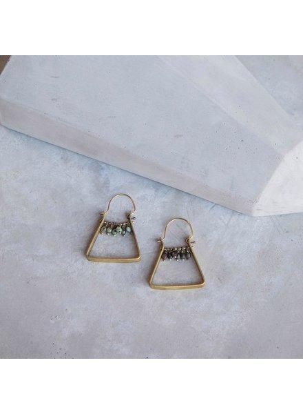 OraTen Triangle Brass Dangling Gem Earrings - African Turquoise