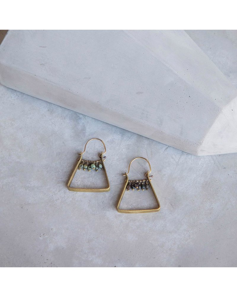 OraTen Triangle Brass Dangling Gem Earrings - African Turquoise
