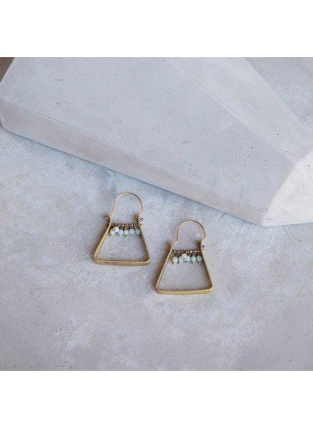 OraTen Triangle Brass Dangling Gem Earrings-Amazonite