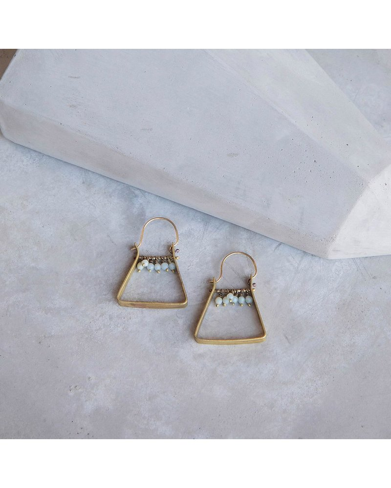 OraTen Triangle Brass Dangling Gem Earrings - Amazonite