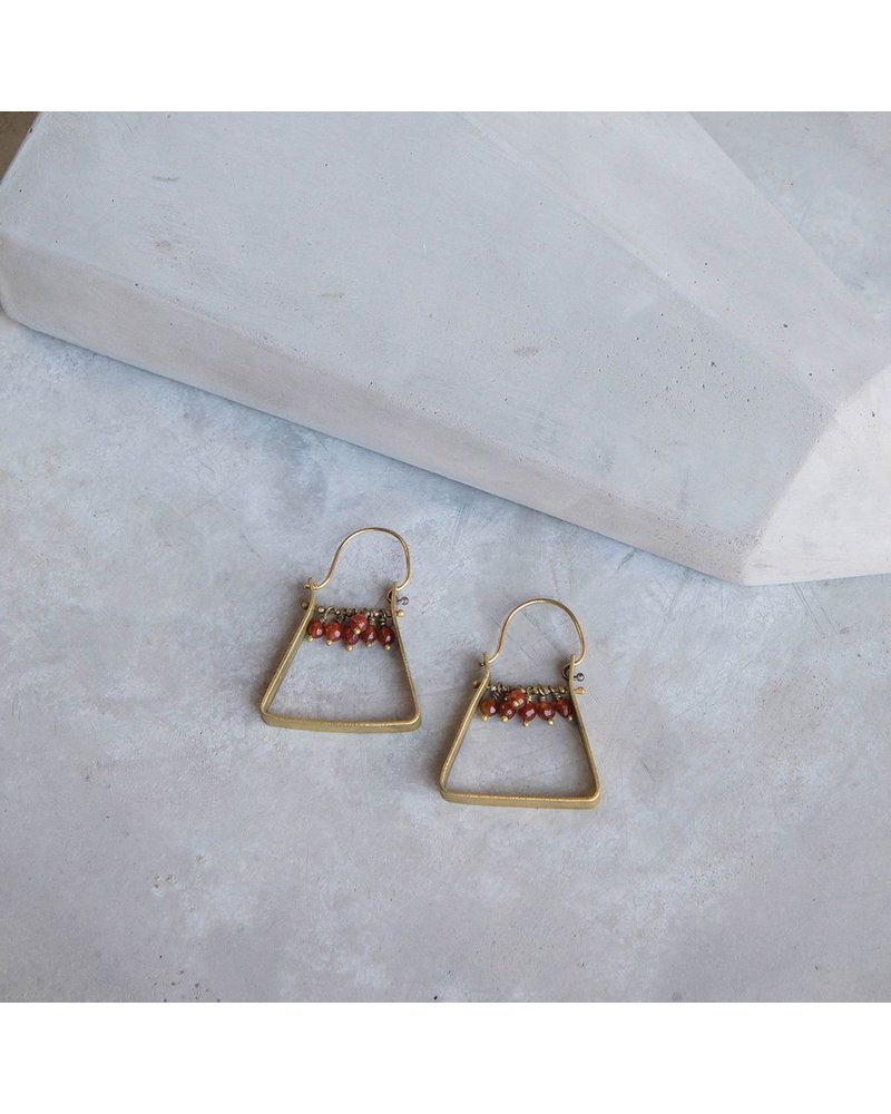 OraTen Triangle Brass Dangling Gem Earrings - Carnelian