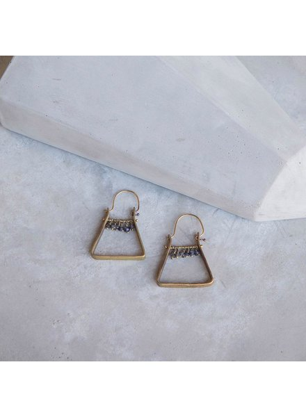 OraTen Triangle Brass Dangling Gem Earrings - Iolite