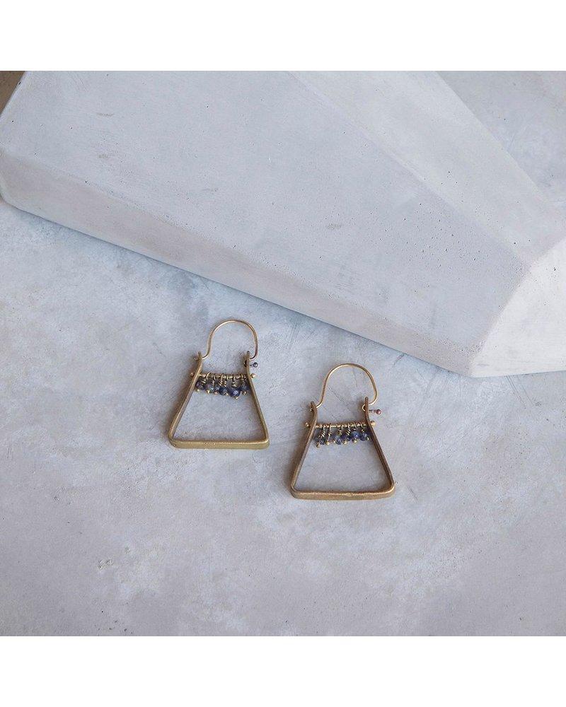 OraTen Triangle Brass Dangling Gem Earrings - Iolite