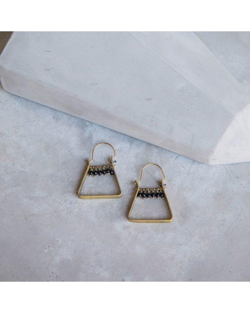 OraTen Triangle Brass Dangling Gem Earrings - Matte Black Onyx