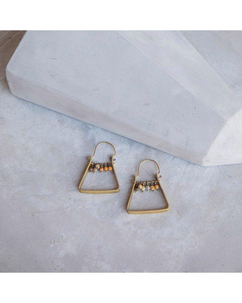 OraTen Triangle Brass Dangling Gem Earrings - Yellow Moss Agate