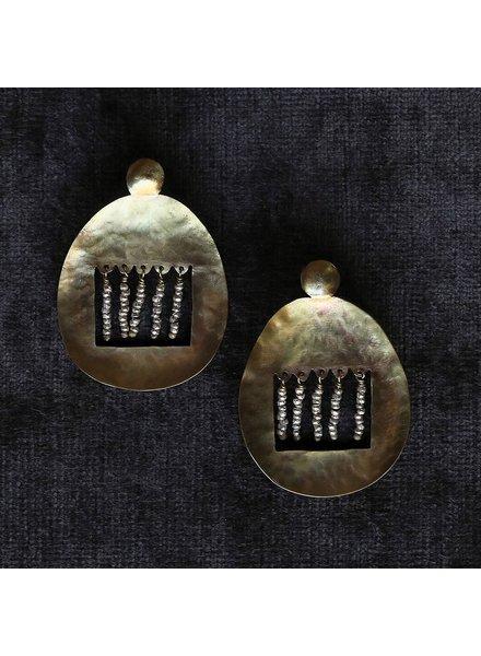 OraTen Picado Brass Earrings, Nickel Beads
