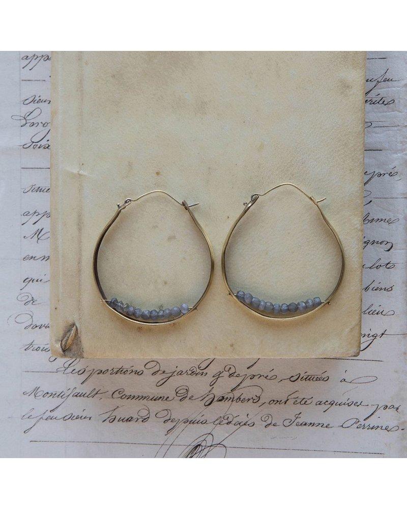 OraTen Low Lying Gem Brass Hoop Earring-Grey Moonstone