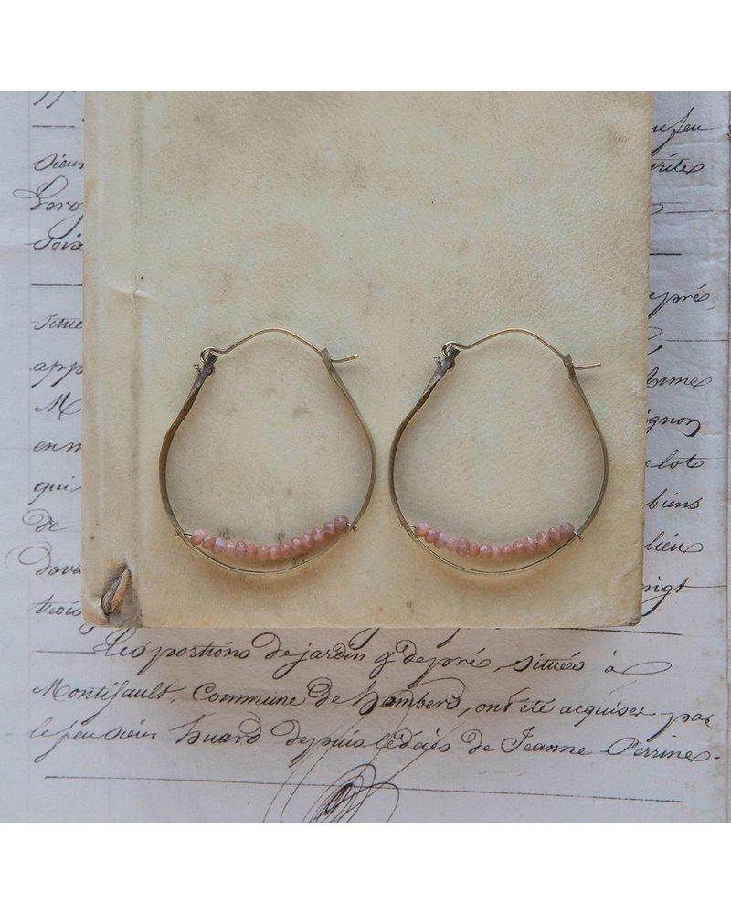 OraTen Low Lying Gem Brass Hoop Earring - Peach Moonstone