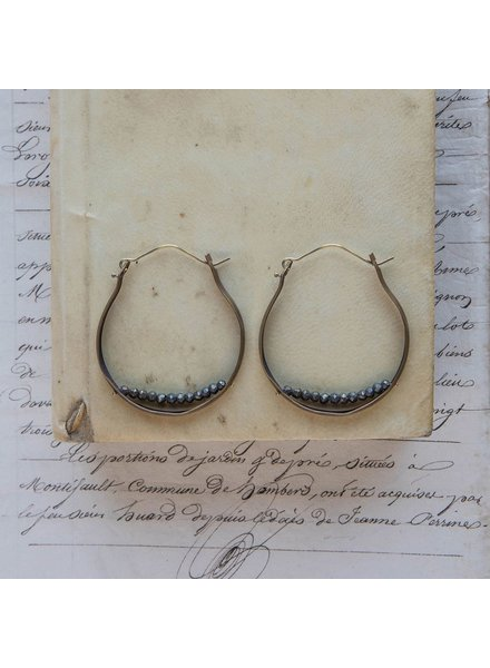 OraTen Low Lying Gem Brass Hoop Earring-Pyrite