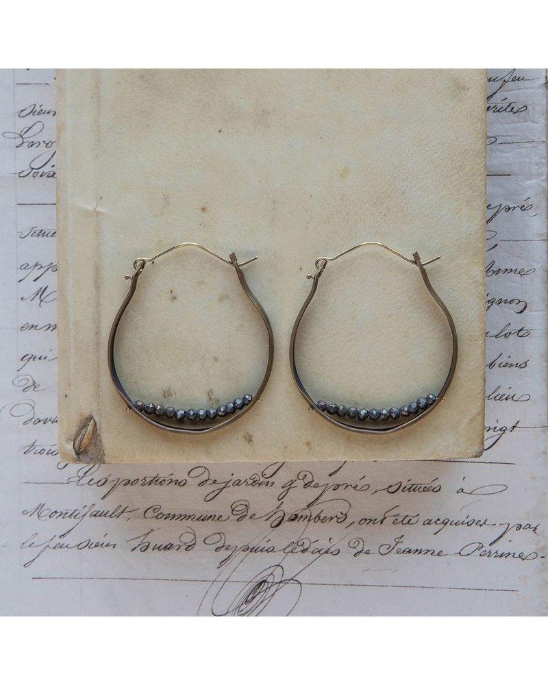OraTen Low Lying Gem Brass Hoop Earring - Pyrite