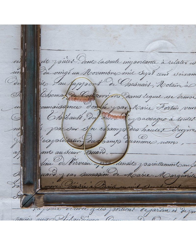 OraTen High Strung Gem Brass Hoop Earring - Peach Moonstone