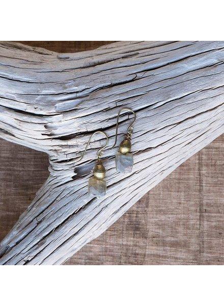 OraTen Cubic Brass Drop Earring-Labadorite