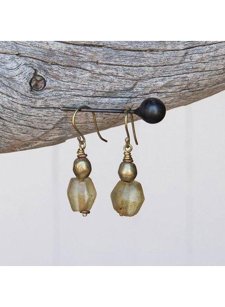 OraTen Seaglass Brass Drop Earrings-Amber