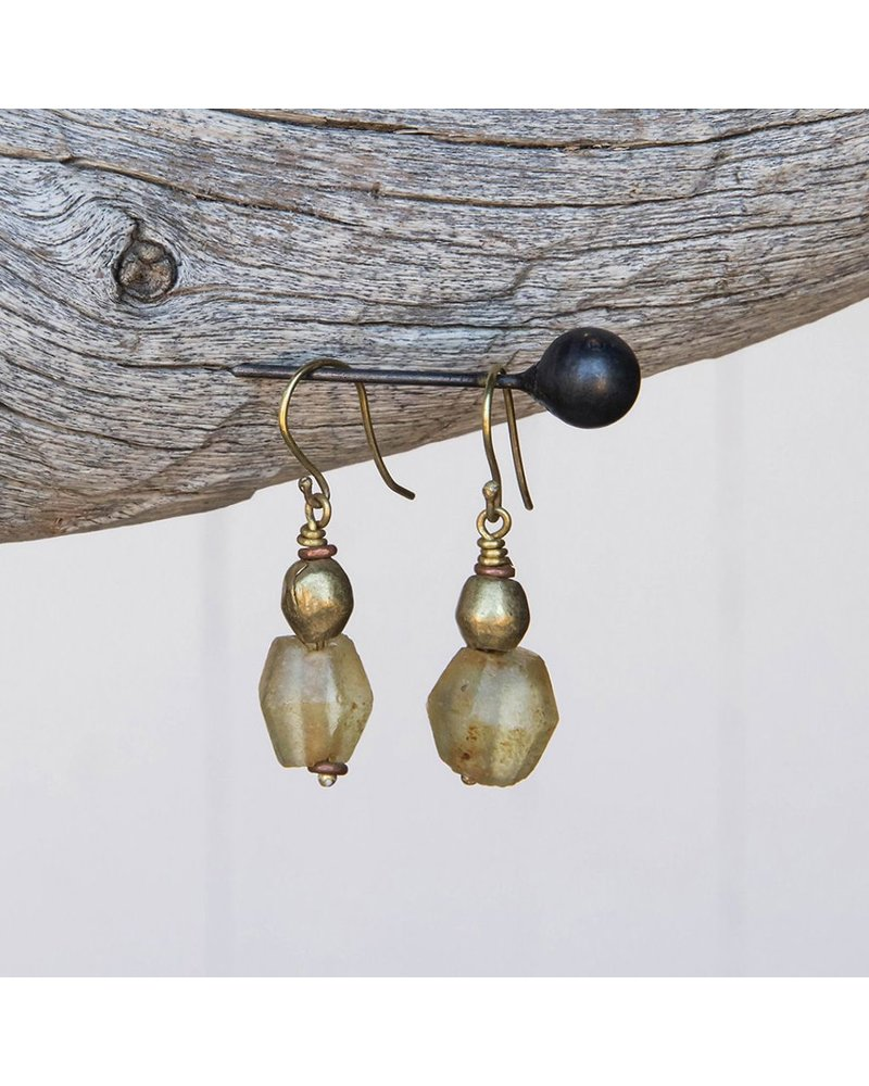 OraTen Seaglass Brass Drop Earrings-Amber
