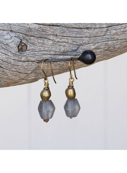OraTen Seaglass Brass Drop Earrings-Grey