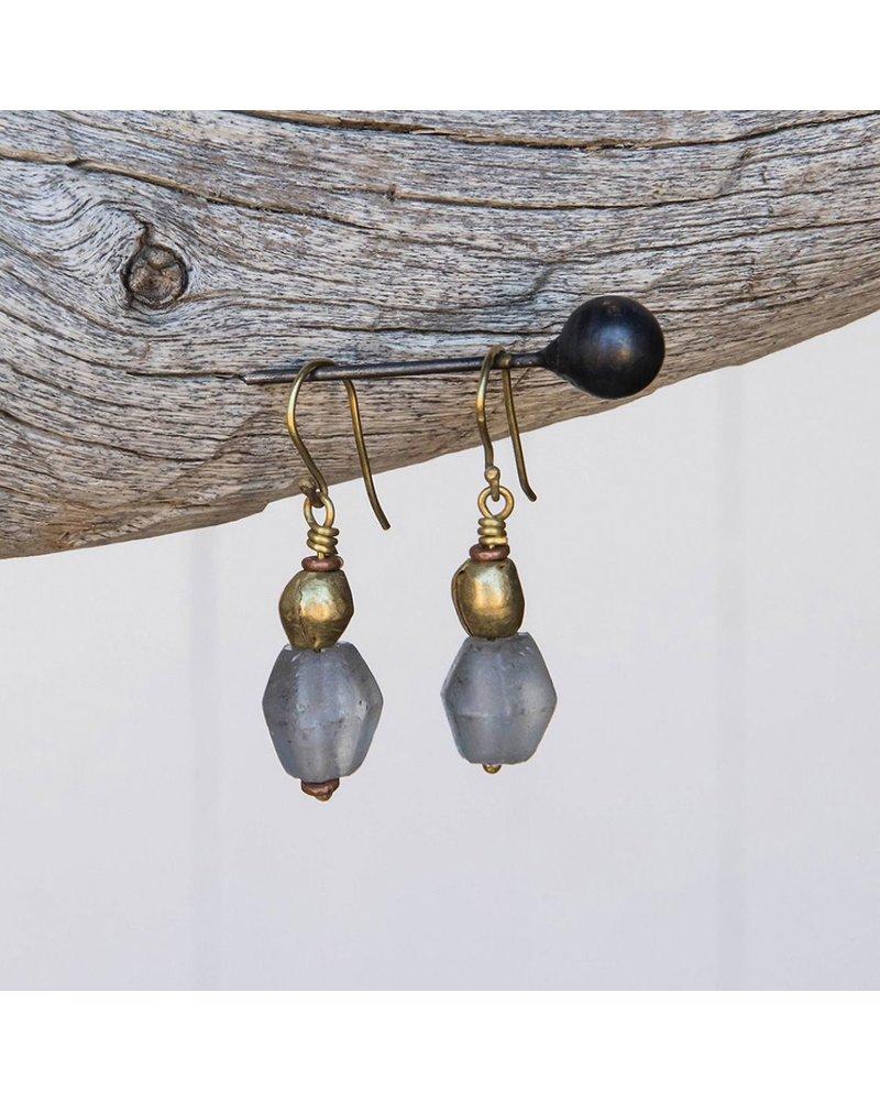 OraTen Seaglass Brass Drop Earrings - Grey