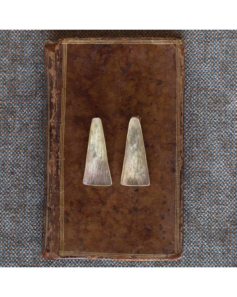 OraTen Gingko Brass Earrings, Long Leaf