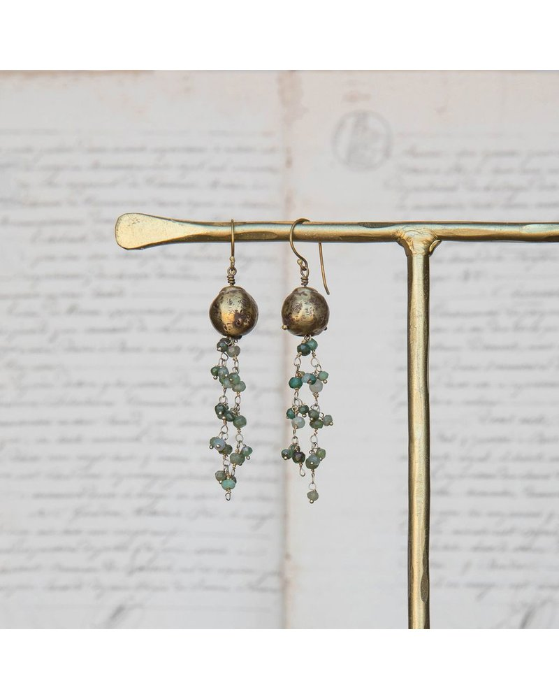 OraTen Dangling Beaded Chain Brass Earrings - Green Chrysophrase