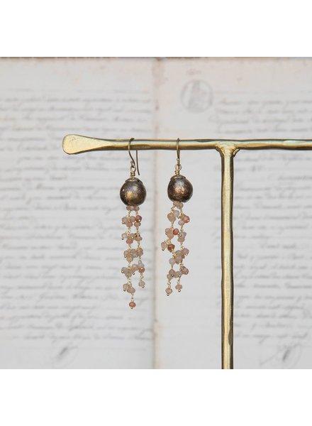OraTen Dangling Beaded Chain Brass Earrings-Peach & Gray Moonstone