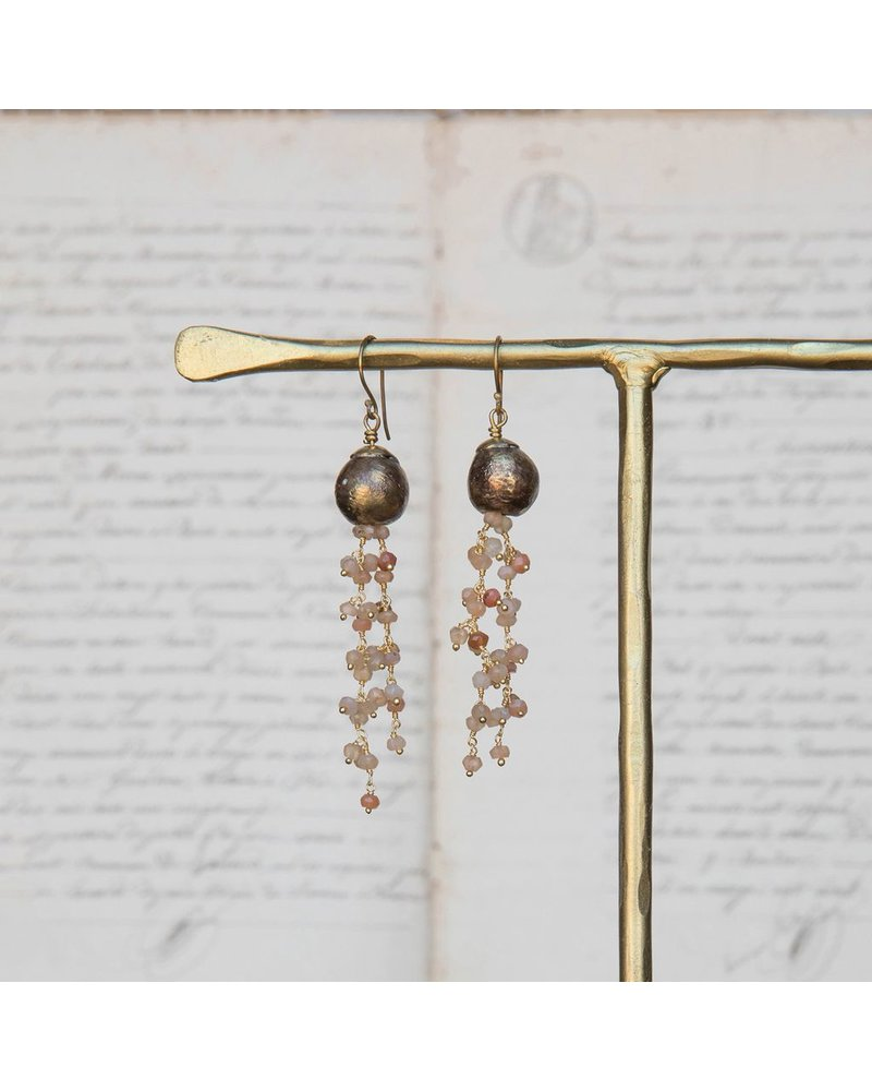 OraTen Dangling Beaded Chain Brass Earrings-Peach & Gray Moonstone