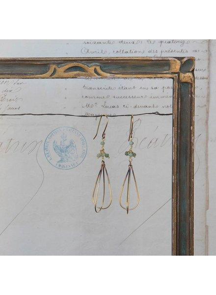 OraTen Dangling Bead Brass Drop Earrings - Green Chrysophrase