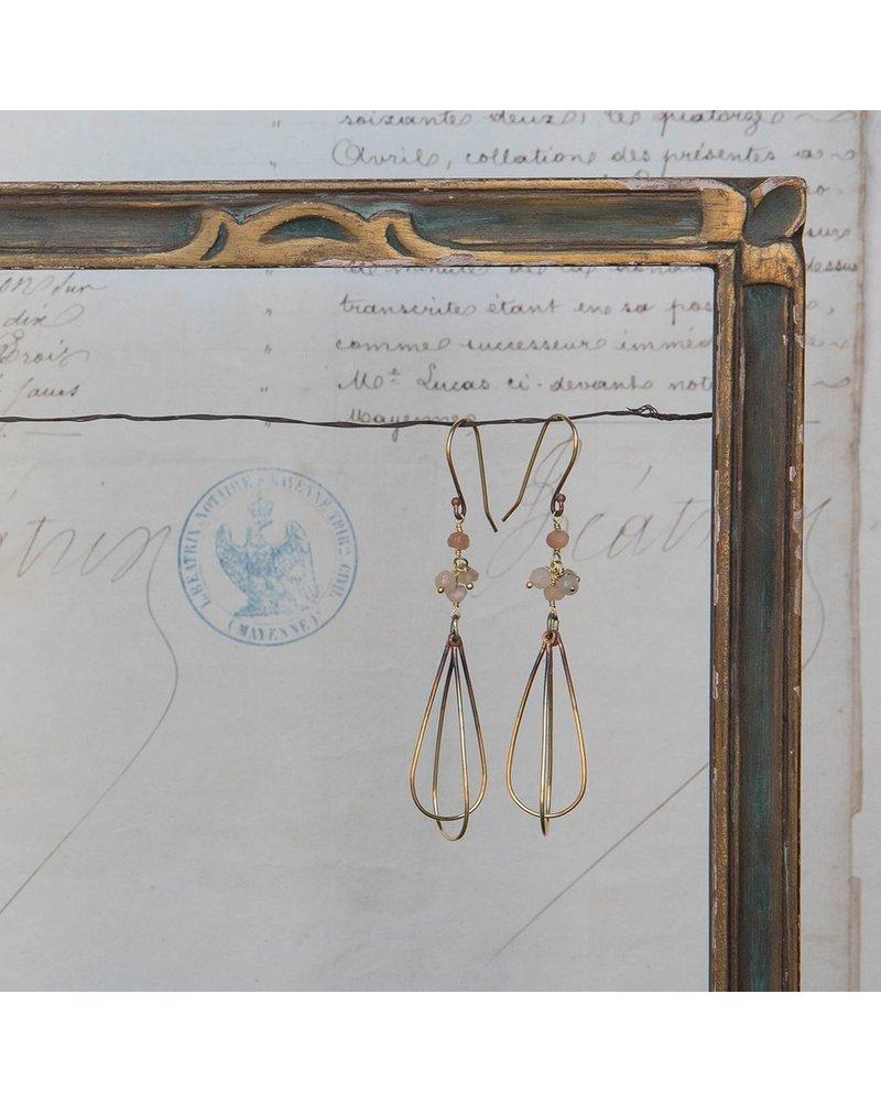 OraTen Dangling Bead Brass Drop Earrings - Peach & Gray Moonstone