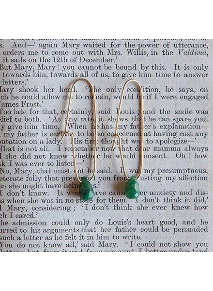 OraTen Oblong Brass Drop Earrings-African Jade Teardrop