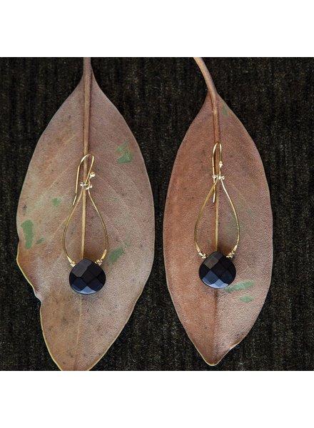 OraTen Double Teardrop Brass Earrings-Matte Black Onyx