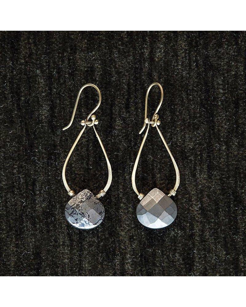 OraTen Double Teardrop Brass Earrings - Pyrite