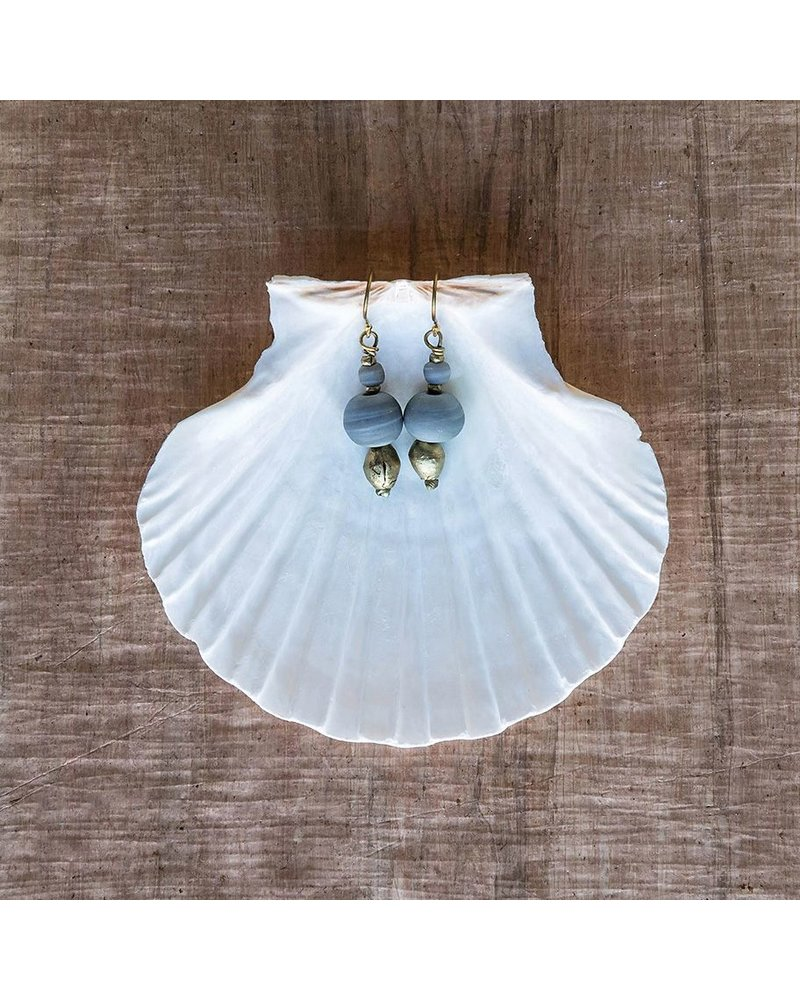OraTen Duo Bead Brass Earrings - Soft Blue