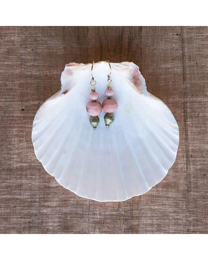 OraTen Duo Bead Brass Earrings - Soft Pink