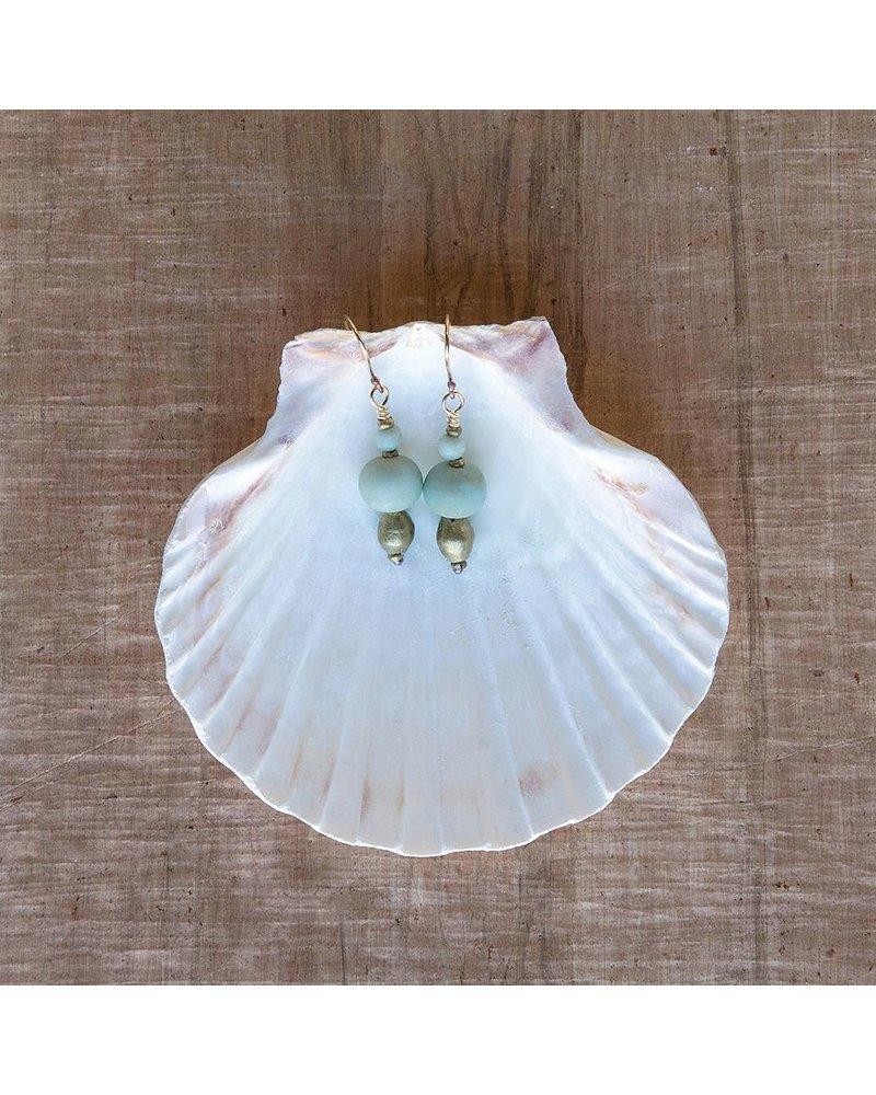 OraTen Duo Bead Brass Earrings - Aqua