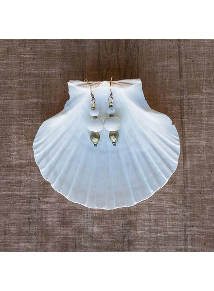 OraTen Duo Bead Brass Earrings-White