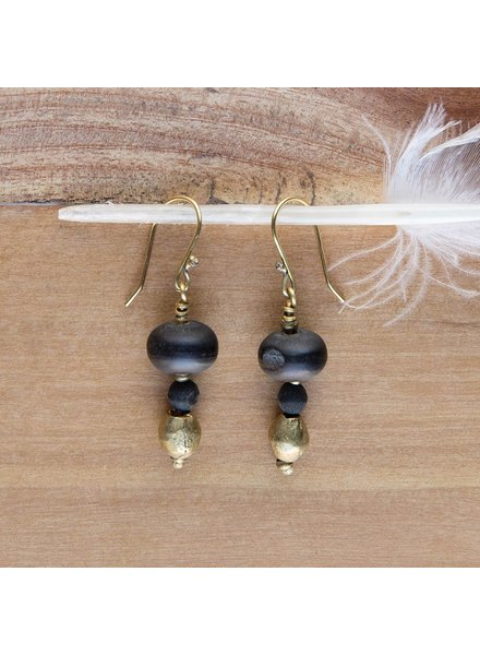 OraTen Duo Bead Brass Earrings-Horn