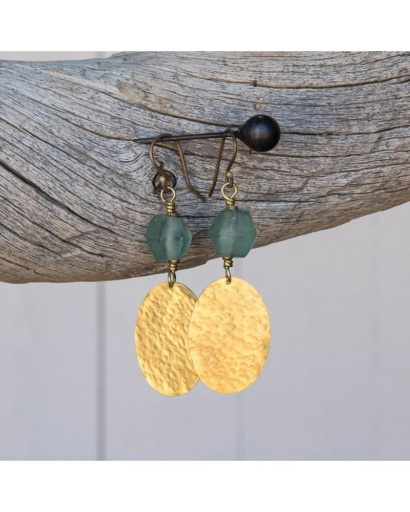 OraTen Hammered Disk Brass Drop Earrings w/ Seaglass - Aqua