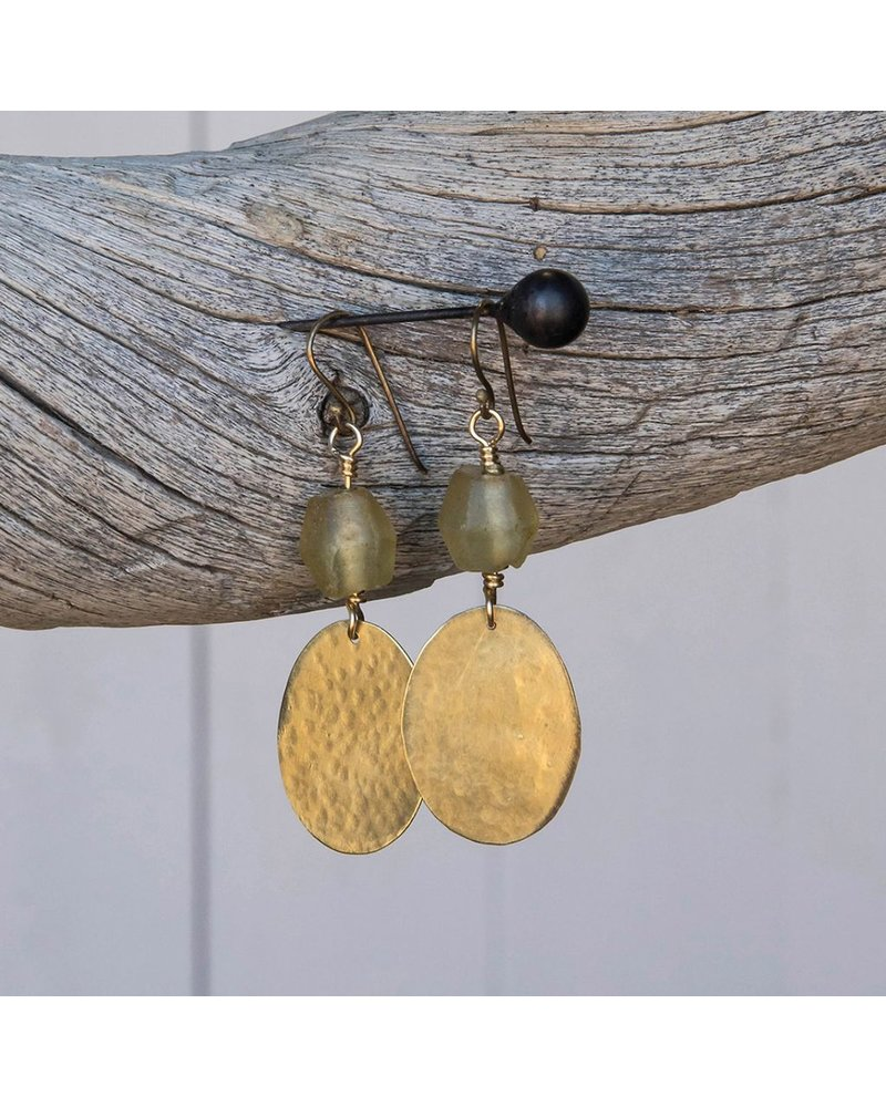 OraTen Hammered Disk Brass Drop Earrings w/ Seaglass - Amber