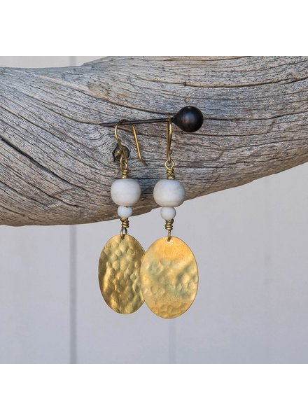 OraTen Hammered Disk Brass Earrings w/ Bead-White