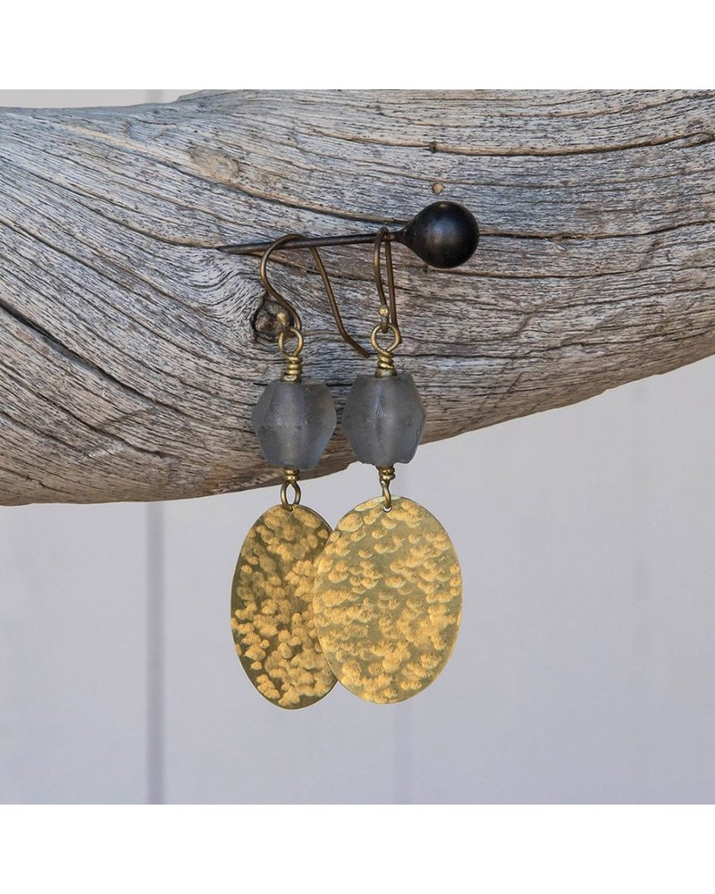 OraTen Hammered Disk Brass Drop Earrings w/ Seaglass - Grey