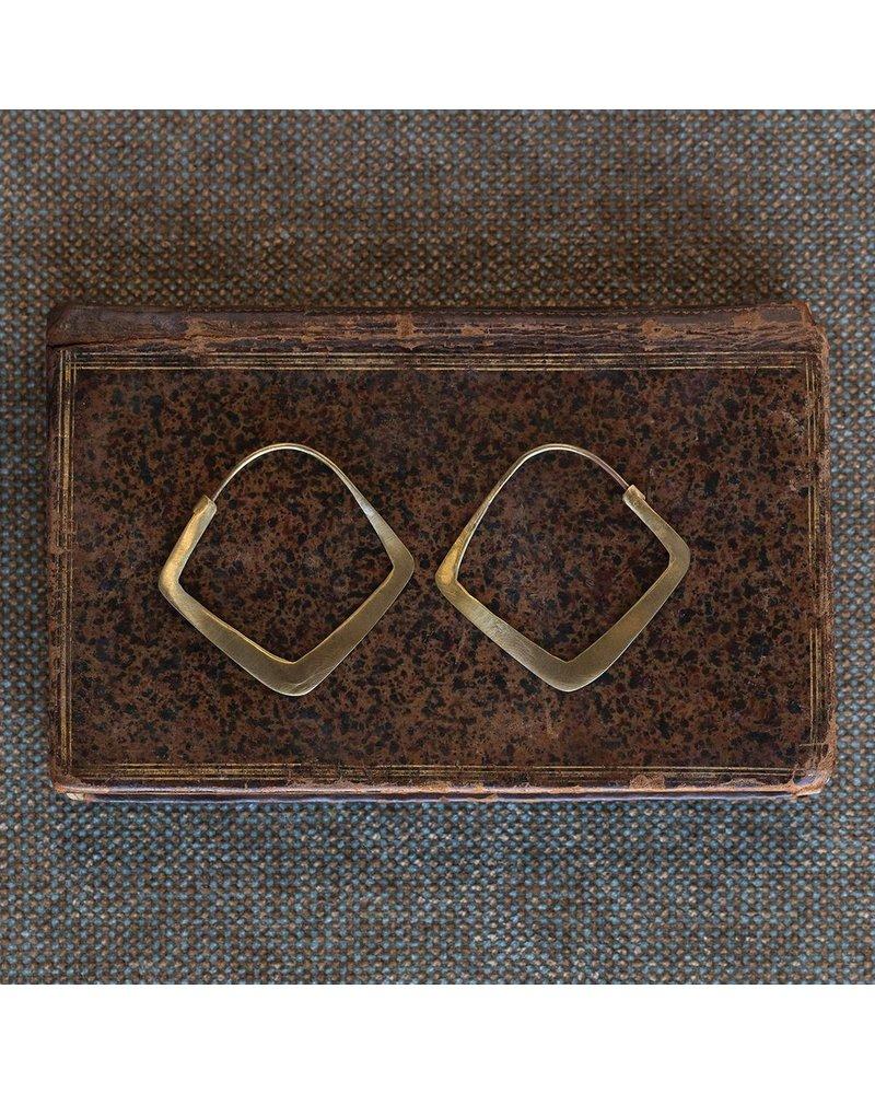 OraTen Triangle Brass Earrings