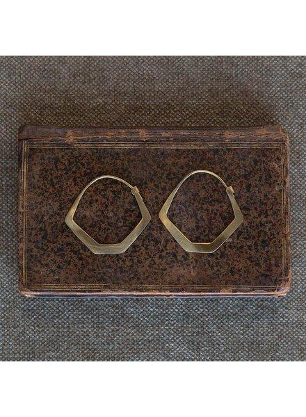 OraTen Hexagon Brass Earrings