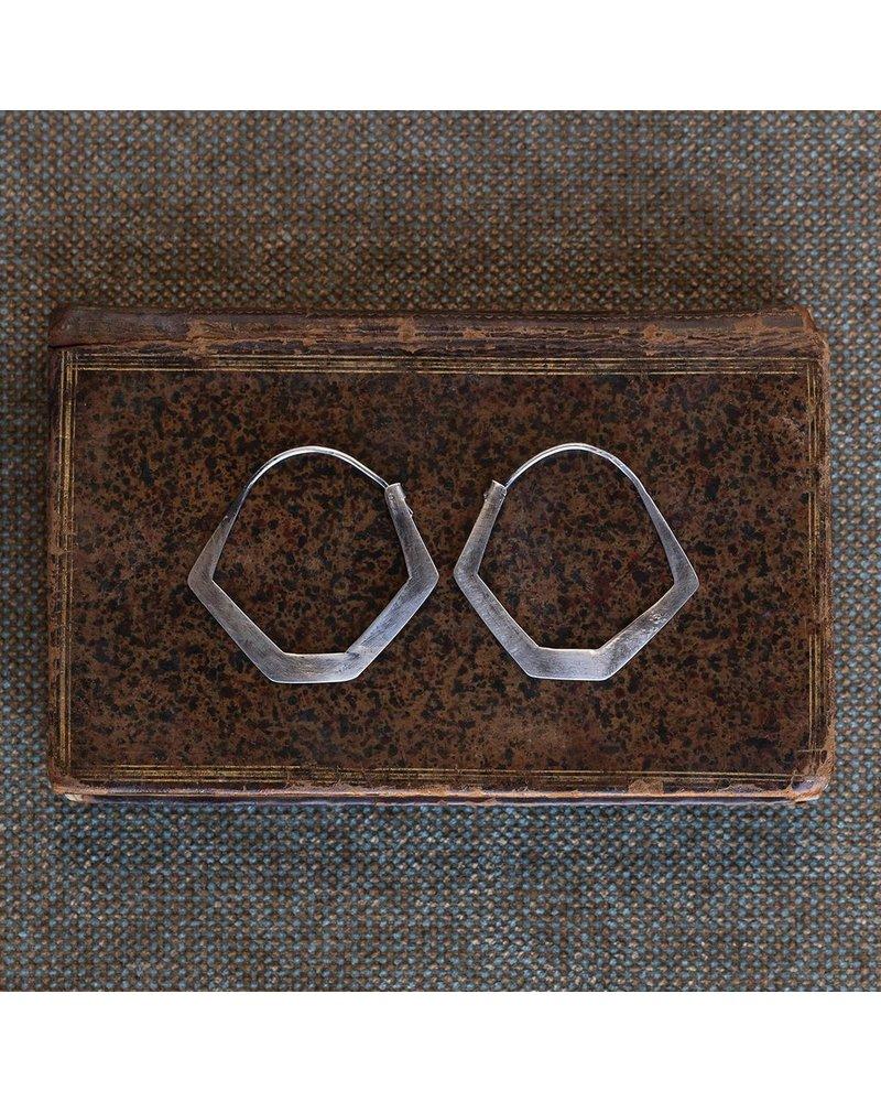 OraTen Hexagon Silver Earrings