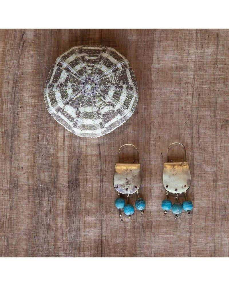 OraTen Earthen Teal Brass Earrings