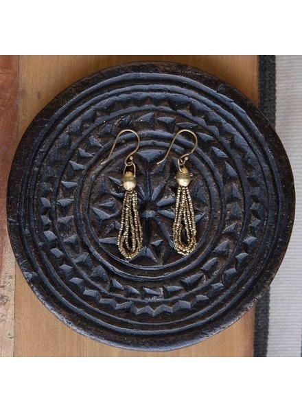 OraTen Nile Brass Bead Strand Earrings