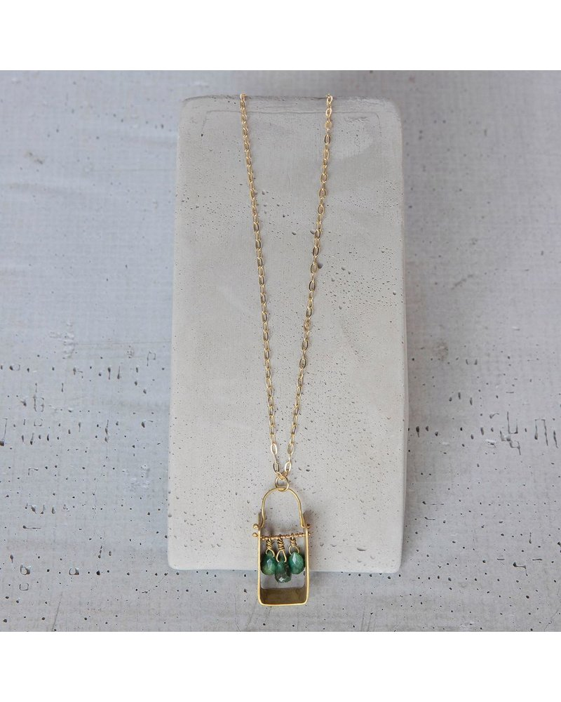 OraTen Boxed Gem Brass Necklace-African Jade