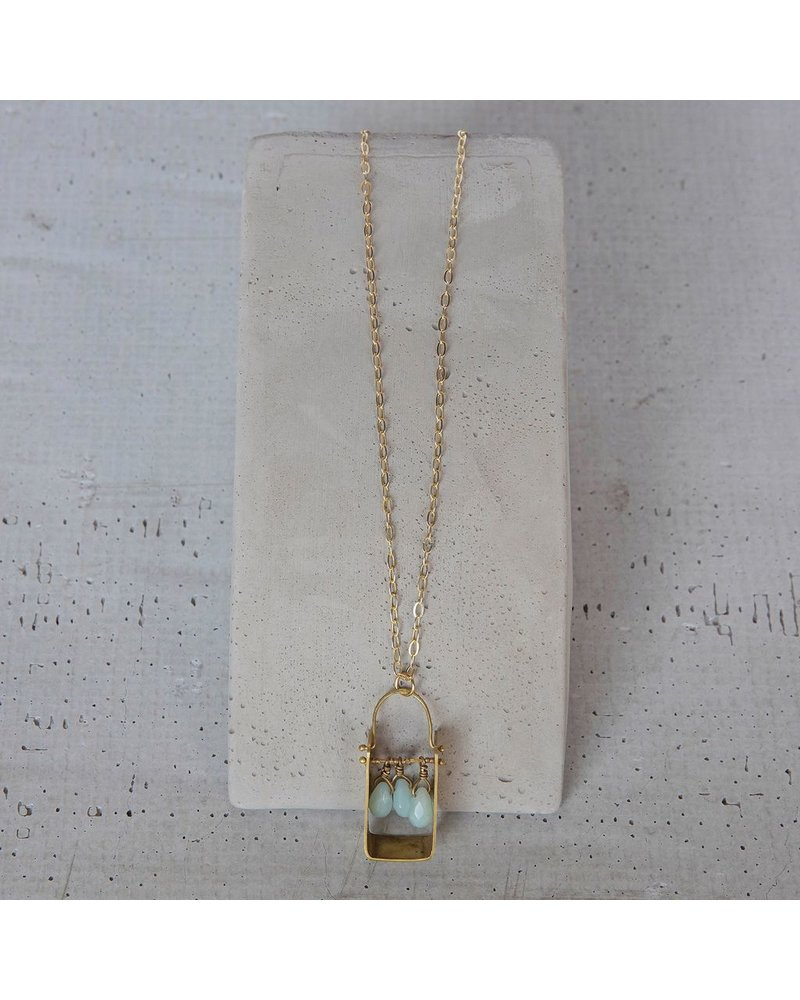 OraTen Boxed Gem Brass Necklace - Amazonite
