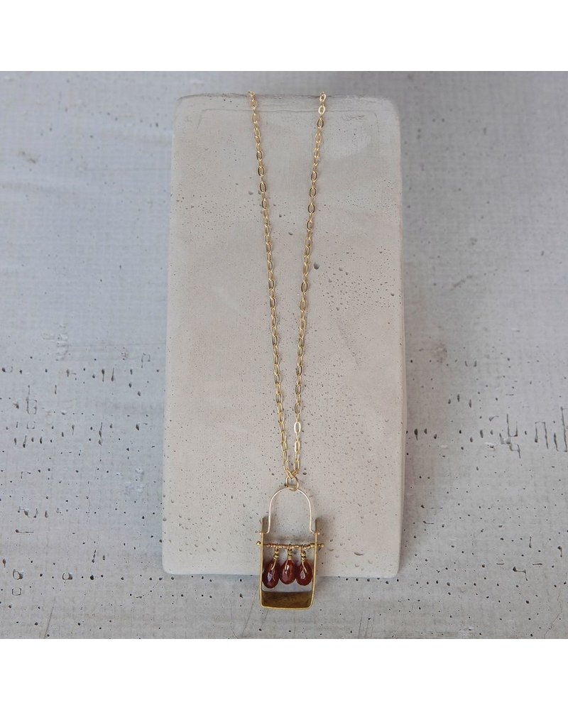 OraTen Boxed Gem Brass Necklace - Carnelian
