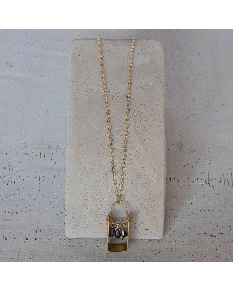 OraTen Boxed Gem Brass Necklace - Iolite
