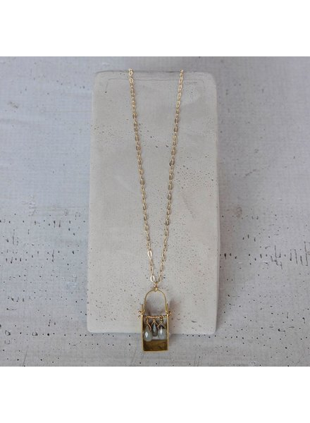 OraTen Boxed Gem Brass Necklace - Labadorite